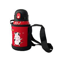 Детский термос-поилка в сумке с чашкой 3 в 1 (красный) 450 ml, фото 1