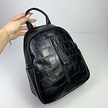 Рюкзак карман спереди фактура рептилия / натуральная кожа (2871) Черный