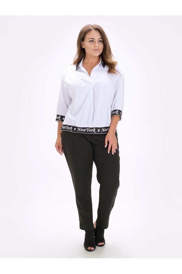 / Розмір 52,54,56 / блуза Жіноча з відкладним коміром Парпл / колір білий