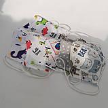 Багаторазова захисна маска для обличчя дитяча підліткова 2 шарова бавовна з машинами автівками авто динозавр, фото 6