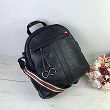 Рюкзак с широким ремешком и кольцами на кисточке, большой размер / натуральная кожа (2820-L) Черный