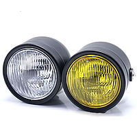 """Мото фара головного """"TWINS HP-D006"""" світла 6 дюймів, Cafe Racer, Bobber, Custom, 12 V, з жовтим склом"""