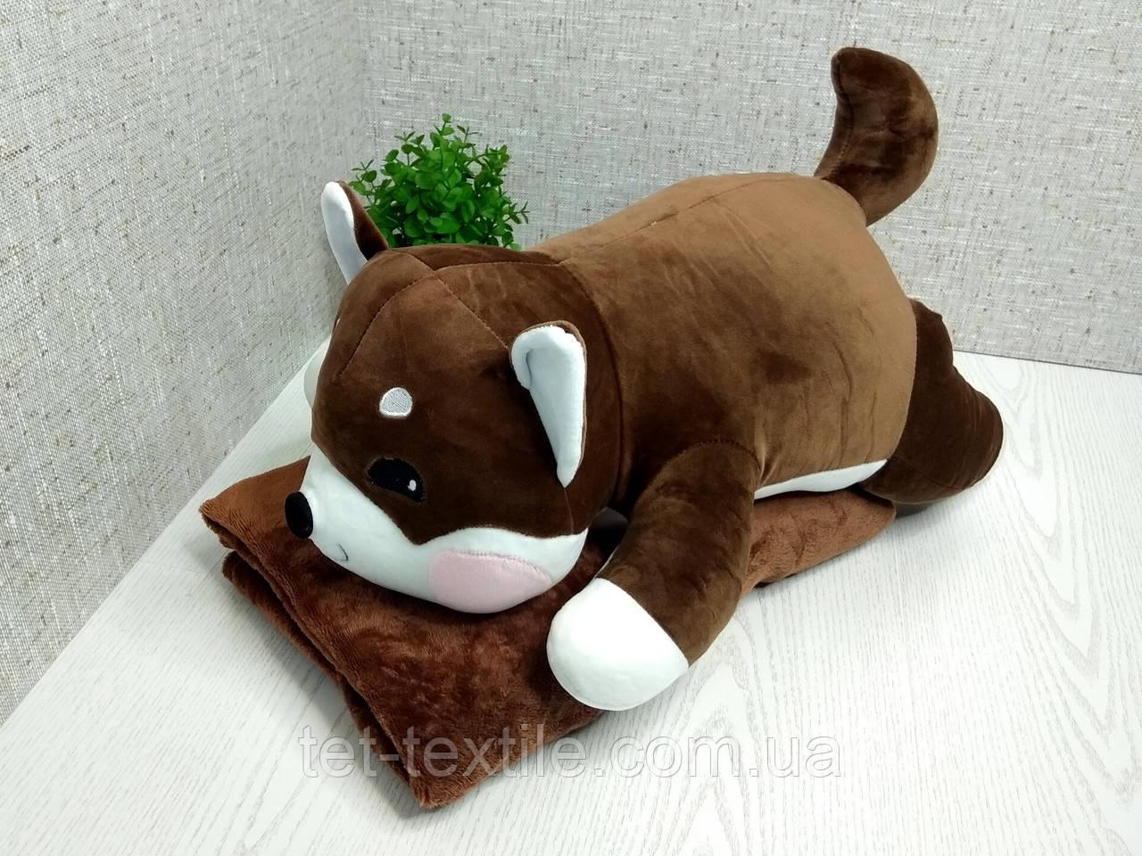 """Мягкая игрушка с пледом внутри """"Собачка"""" коричневая"""