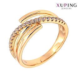 Кольцо Xuping, белые фианиты (куб. цирконий), ширина 9 мм, вес 4 г, позолота 18K, ХР01422 (19)