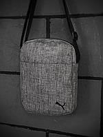 Мужская  барсетка из текстиля Puma, сумка через плечо, молодежная спортивная сумка, цвет серый меланж