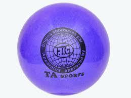 Мяч для художественной гимнастики TA sport T-12 - 15 см. Синий с блестками