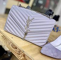 Жіноча сумочка на ланцюжку, сірого кольору Ів Сен Лоран (Yves Sent Loran )