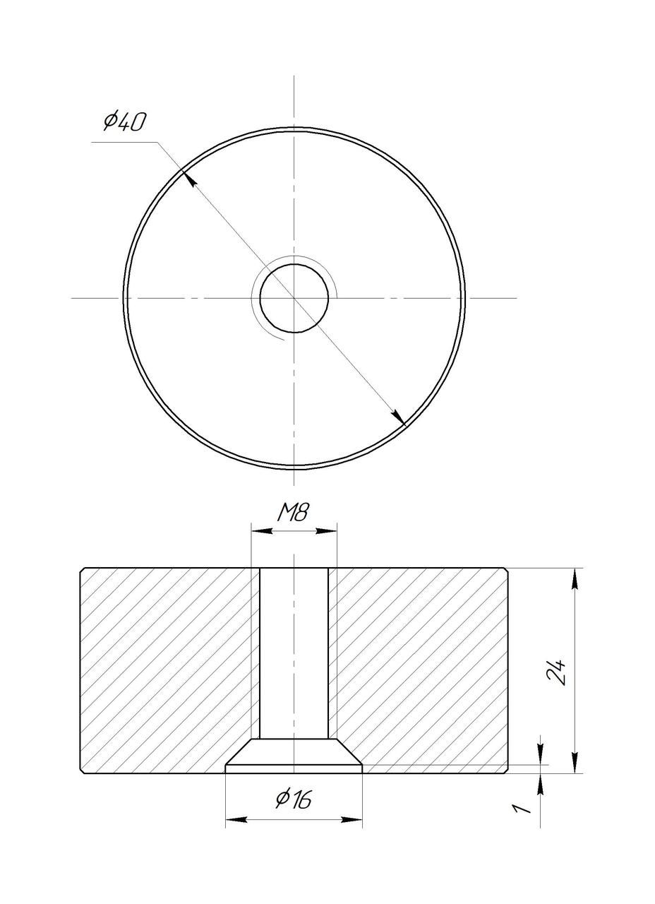ODF-06-25-21-L25 Дистанция 25 мм для коннектора диаметром 40 мм и с резьбой М8, черная