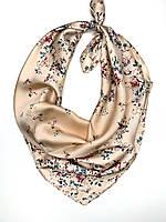 Женский шелковый платок с принтом цветы, фото 1