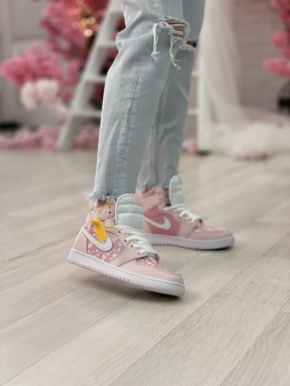 Air Jordan 1 Retro x Dior Grey (Топ качество) Осень-Весна, Жіночі Кросівки, Женская обувь