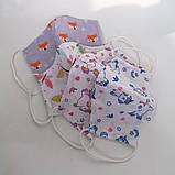Багаторазова 3 шарова захисна трикотажна тканинна маска для обличчя багаторазова м'яка жіноча дитяча, фото 8