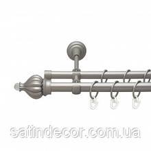 Карниз для штор металлический ТАДЖА с кристаллом двойной 16+16 мм 1.6м Сатин никель