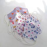 Багаторазова 3 шарова захисна трикотажна тканинна маска для обличчя багаторазова м'яка жіноча дитяча, фото 7