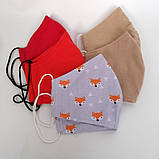 Багаторазова 3 шарова захисна трикотажна тканинна маска для обличчя багаторазова м'яка жіноча дитяча, фото 4