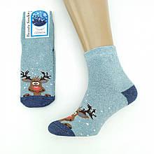 """Шкарпетки жіночі махрові """"Веселий олень"""", BEAUTY SOCKS, р23-25, т-блакитний, 20025830"""