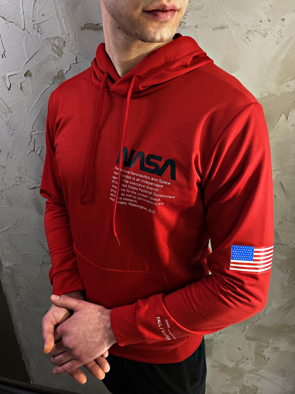 Чоловіча червона толстовка худі світшот з капюшоном NASA