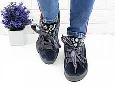 Велюрові кеди з камінням Fashion Muffin 1008 38 розмір 23,5 см Сірий, фото 2
