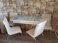 """Розкладний стіл обідній кухонний комплект стіл і стільці 3D малюнок 3д """"Світлі дошки"""" ДСП скло 60*90 Лотос-М"""