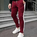 Спортивні штани утеплені чоловічі брюки з лампасом теплі зима-весна-осінь сині Туреччина. Живе фото, фото 3