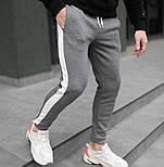 Спортивні штани утеплені чоловічі брюки з лампасом теплі зима-весна-осінь сині Туреччина. Живе фото, фото 4