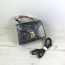 Сумка чемоданчик с ручкой фактура рептилия + платок в комплекте арт.1631 Серый