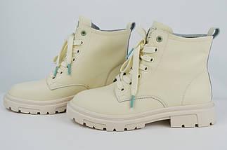 Ботинки демисезонные высокие Lonza 20122 36 Бежевые с зеленым кожа, фото 3