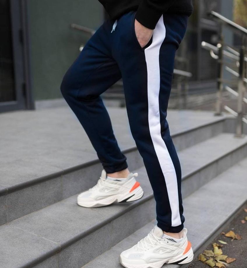 Спортивні штани утеплені чоловічі брюки з лампасом теплі зима-весна-осінь сині Туреччина. Живе фото