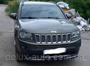 Защита переднего бампера крашенная Труба с клыками Передний радиус молотковый Грандер на Jeep Compass 2011+