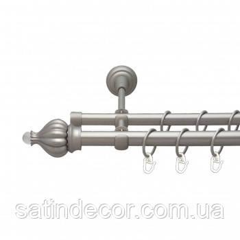 Карниз для штор металлический ТАДЖА с кристаллом двойной 16+16 мм 2.4м Сатин никель