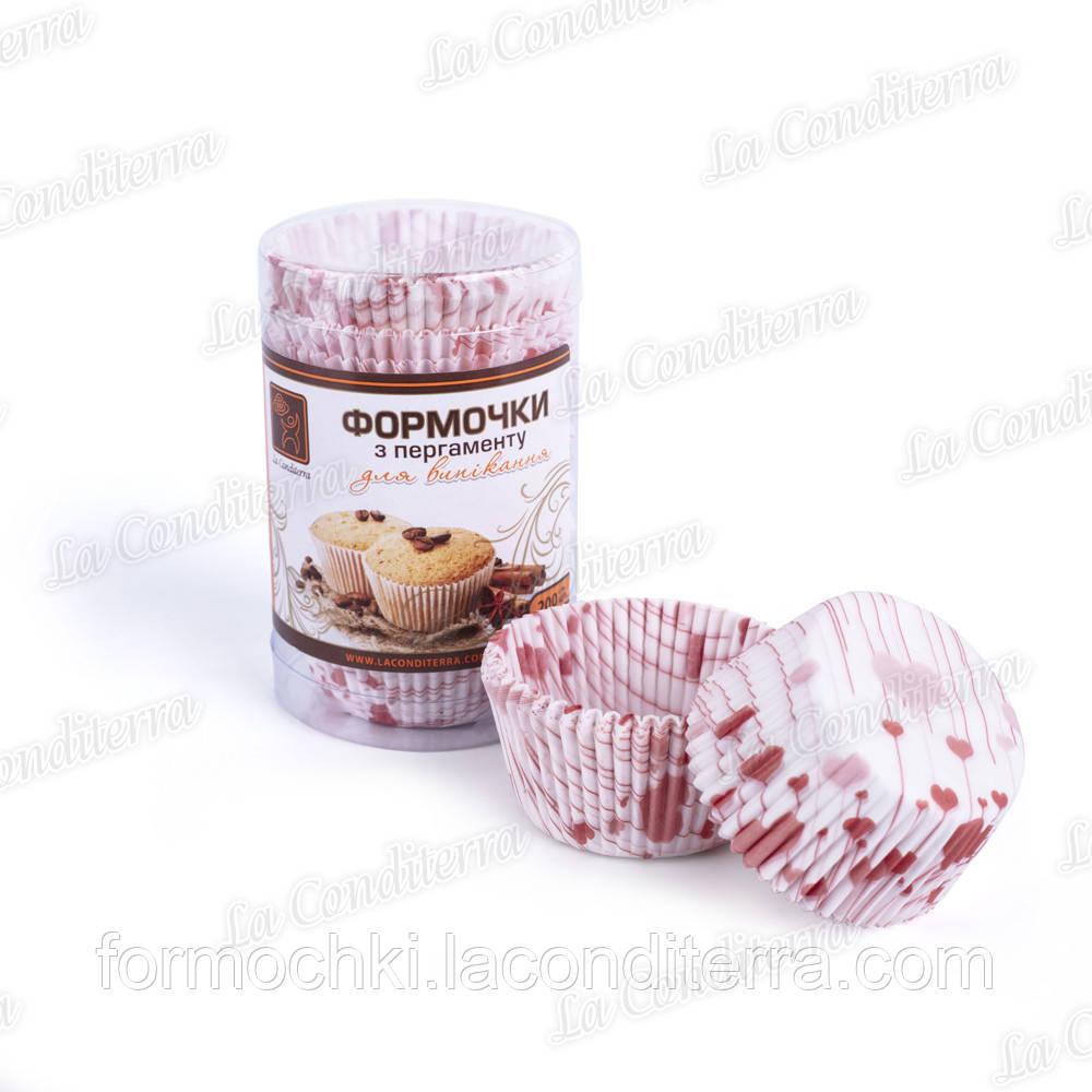 Форми для кексів в тубусі «Сердечко на паличці» 7а (Ш 50, бортик – 30 мм), 200 шт.