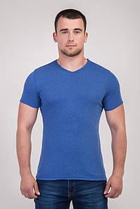 Однотонна футболка прилеглого силуету (блакитна)
