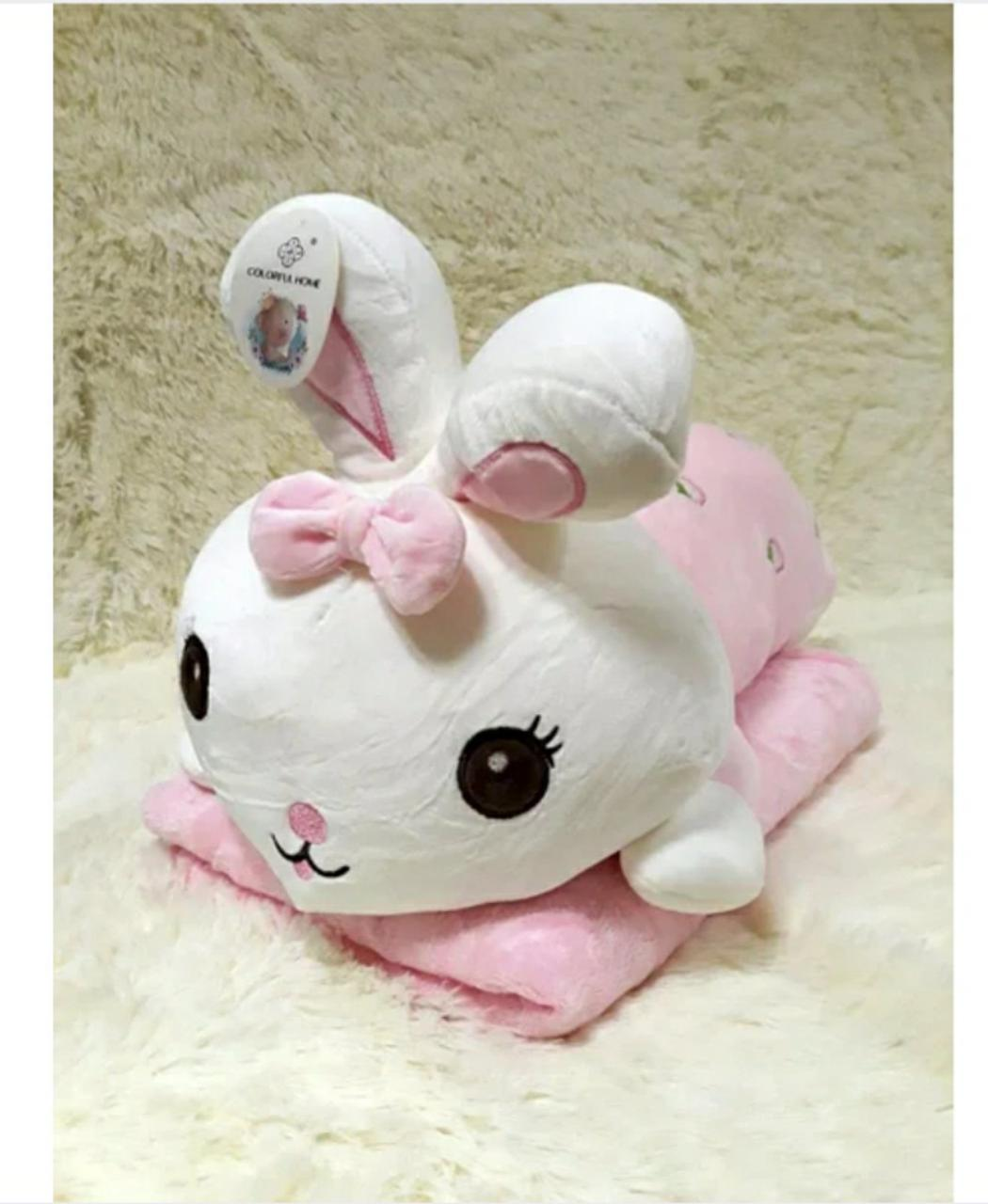 Плед - м'яка іграшка 3 в 1 (Зайчик рожевий)