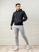 Мужской спортивный костюм - темно-серый верх и серый низ
