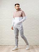 Мужской спортивный костюм - кофейно-белая худи и серые штаны