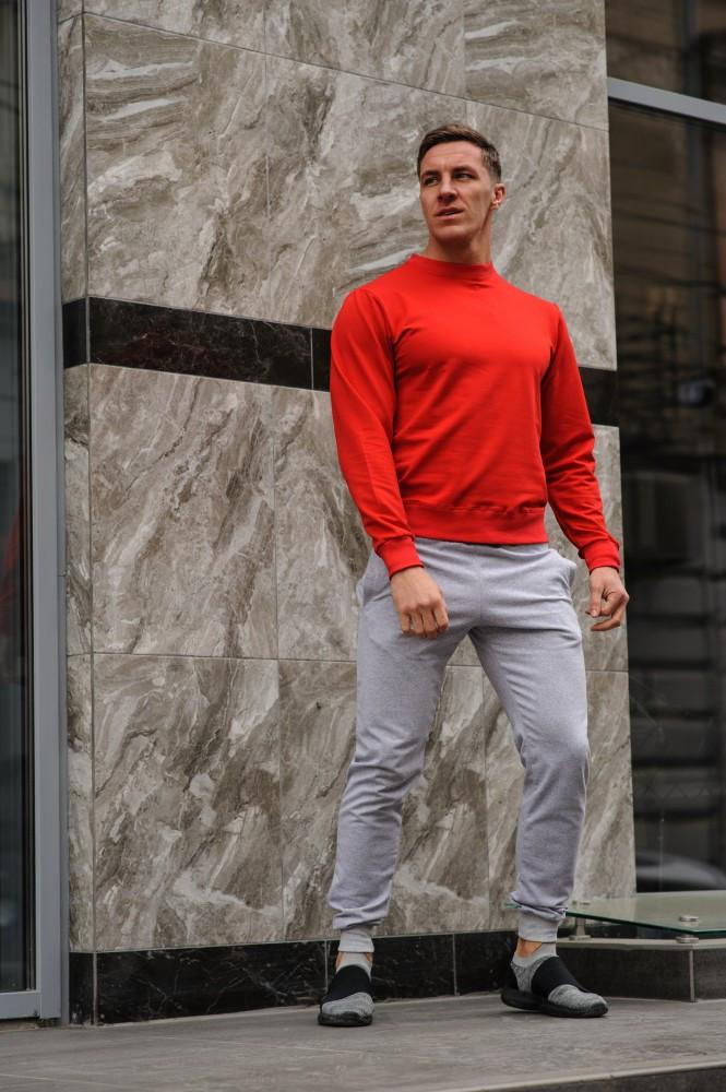 Мужской спортивный костюм - красный свитшот и серые штаны (весна-осень)