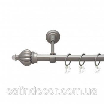 Карниз для штор металевий ТАДЖА з кристалом однорядний 16мм 1.6 м Сатин нікель
