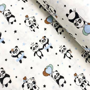 """Фланель """"Панды с голубыми, коричневыми шариками"""" 240см"""