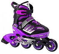 Ролики раздвижные с алюминиевой рамой Maraton Zetra 3421: размер 39-42 (Violet-Black)