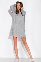 Сорочка женская 107P131-4 (Серо-розовый/принт)