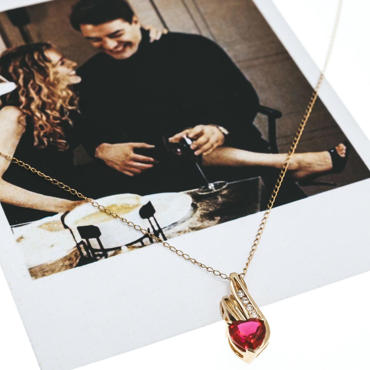 Золотая цепочка с кулоном рубин и бриллиант  Сердце