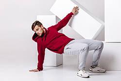Мужской спортивный костюм - бордовая худи, серые штаны