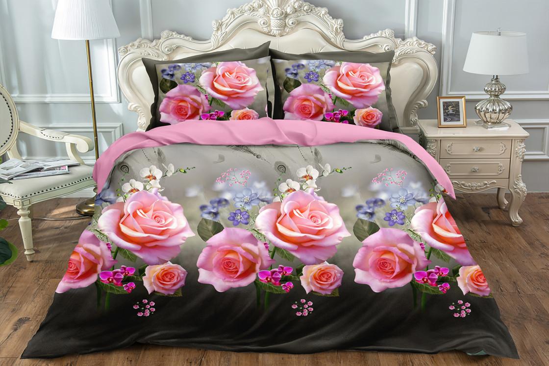 Семейный двусторонний комплект постельного белья Сатин Люкс (16431) TM КРИСПОЛ Украина
