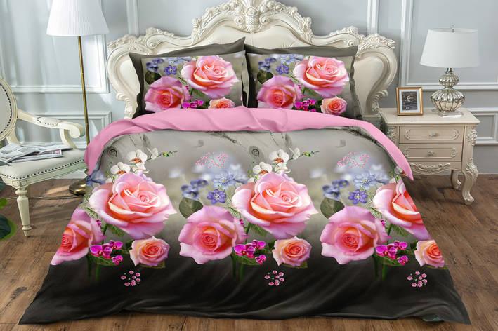 Семейный двусторонний комплект постельного белья Сатин Люкс (16431) TM КРИСПОЛ Украина, фото 2
