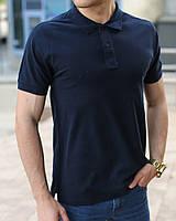 Темно-синяя мужская футболка поло