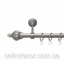 Карниз для штор металевий ТАДЖА з кристалом однорядний 16мм 2.4 м Сатин нікель