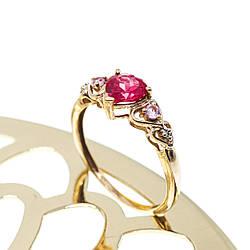 Золоте кільце з камінням шпінель Серця