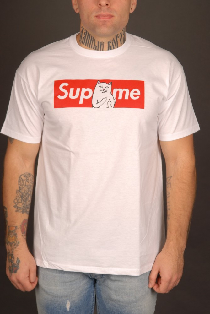 Белая футболка Supreme c Ripndip