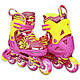 Розсувні роликові ковзани дитячі в наборі захист, шолом, сумка JINGFENG 189 (S (31-34), Рожевий), фото 6