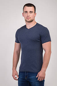Однотонна футболка прилеглого силуету (темно-синій)