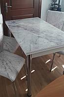 """Раскладной комплект кухонный серый стол и стулья """"Светлый камень гранит мрамор"""" ДСП стекло 60*90 (Лотос-М), фото 1"""